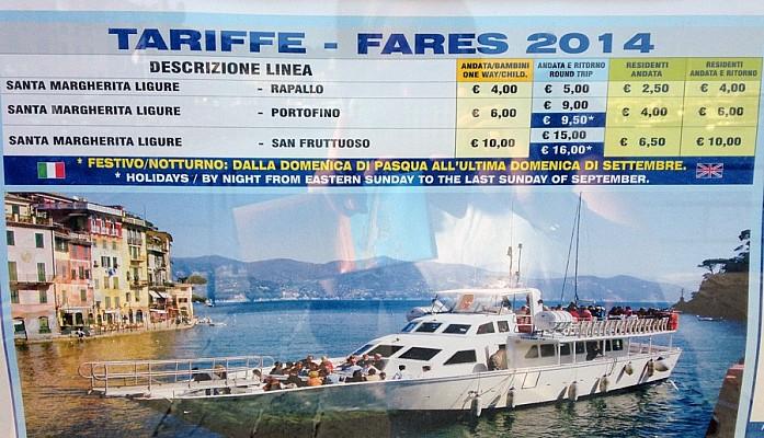 Тарифы на паром до Портофино на 2014-й год