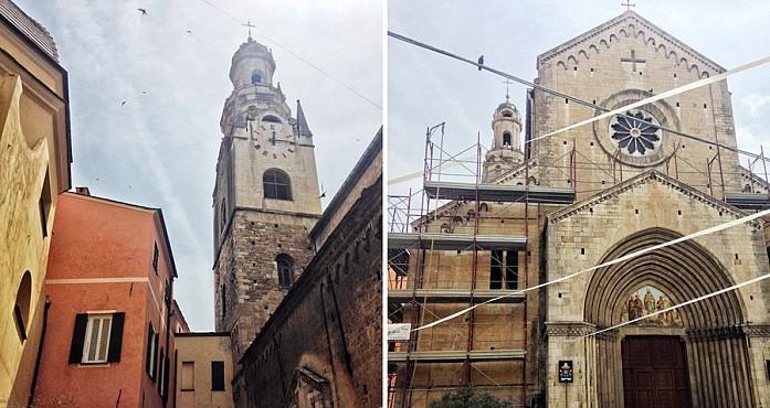 Башня собора, которую видно из разных точек города, и фасад церкви