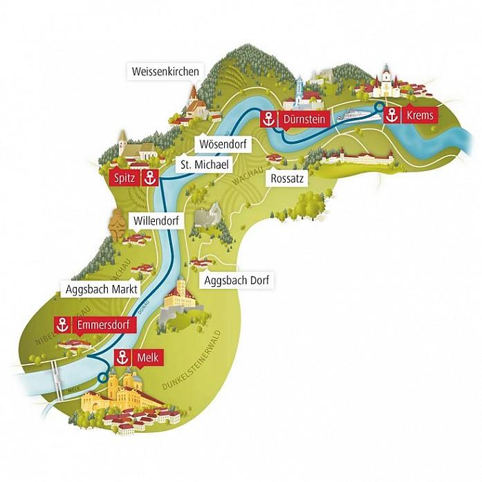Карта долины Вахау