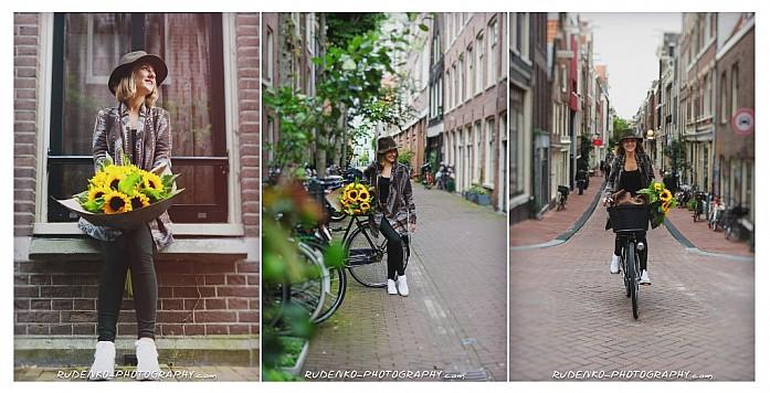 Моя чудесная фотопрогулка по Амстердаму - подсолнухи и любименький велосипед!